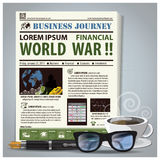 Business Journey Newspaper Lay Out With Pen, Glasses, Coffee. Design Template Stock Photography