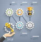 Business key with gear timeline infographic template. Stock Photo