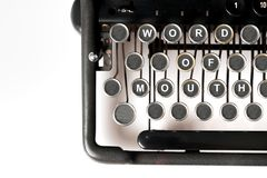 Business keyword Close up of retro style typewriter royalty free stock photography