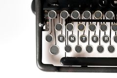 Business keyword Close up of retro style typewriter royalty free stock photo