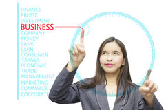 Business keywords on glass board computer. Picture of a lady operating Business keywords on glass board computer Royalty Free Stock Image