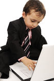 Business kid  with laptop Royalty Free Stock Image