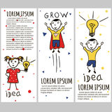 Business kids hand drawing cartoon characters Stock Photography