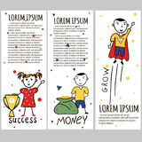 Business kids hand drawing cartoon characters Royalty Free Stock Image