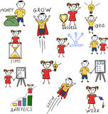 Business kids hand drawing cartoon characters. Business kids hand drawing characters. Idea generation, business planning and analytics, financial grow, time Royalty Free Stock Photo