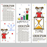 Business kids hand drawing cartoon characters Stock Images