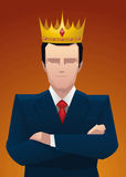 Business king, proud confident businessman wearing crown Royalty Free Stock Photos