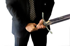 Business knight with Sword stock photo