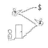 Business ladder to momey Stock Images