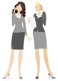 Business ladies. Two business ladies in work place stock illustration
