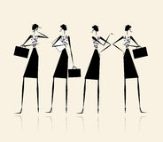 Business ladies, silhouette for your design Stock Photos