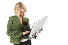 Business Lady #11. Blond Business woman with notebook computer royalty free stock image
