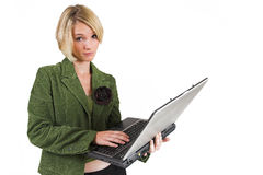Business Lady #12. Blond Business woman with notebook computer royalty free stock photography