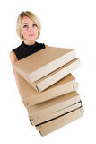 Business Lady #18. Blond Business woman carrying boxes stock photography
