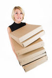 Business Lady #19. Blond Business woman carrying boxes stock photos