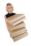Business Lady #20. Blond Business woman carrying boxes stock images
