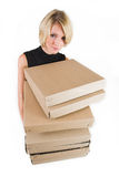 Business Lady #22. Blond Business woman carrying boxes stock photos