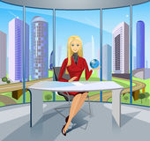 Business- lady. Against a city trains as it is necessary to operate the world Stock Images
