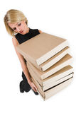 Business Lady #23. Blond Business woman carrying boxes stock images