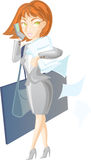 Business lady. Is carrying large bags and lots of papers Stock Illustration