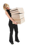 Business Lady #28. Blond Business woman carrying boxes royalty free stock images