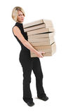 Business Lady #30. Blond Business woman carrying boxes stock image