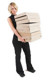 Business Lady #31. Blond Business woman carrying boxes stock photography