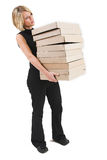 Business Lady #32. Blond Business woman carrying boxes stock images