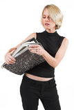 Business Lady #35. Blond Business woman carrying files royalty free stock photography