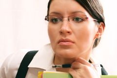 Business Lady. Young business lady thinking about Stock Photography