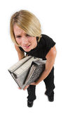 Business Lady #40. Blond Business woman carrying files - Eyes Open, crying royalty free stock photos