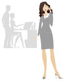Business lady. Phoning in office Stock Illustration