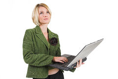 Business Lady #7. Blond Business woman with notebook computer stock photography