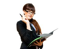 Business lady. With black paper folder and pen in her hands Stock Photography