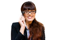 Business lady. In glasses with mobile phone Stock Images