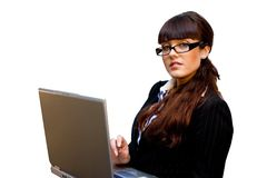 Business lady. In glasses with laptop isolated and cutout Royalty Free Stock Photography