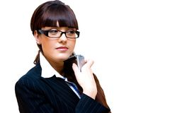 Business lady. In glasses with mobile phone isolated cutout Royalty Free Stock Photo