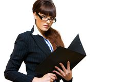 Business lady. With black paper folder in her hands Stock Photos