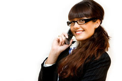 Business lady. In glasses with mobile phone Stock Image