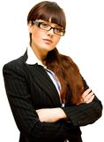 Business lady. In glasses isolated and cutout on white background Royalty Free Stock Photography