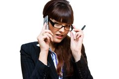 Business lady. In glasses with mobile phone Stock Photo