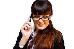 Business lady. In glasses with mobile phone Stock Photography