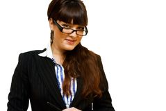 Business lady. In glasses close up view Stock Photography