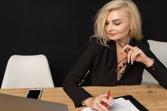 Business lady beautiful blonde woman intelligent managing director stock photography