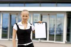 Business lady behind modern building. Stock Images
