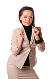 Business lady in beige suit Royalty Free Stock Photos