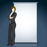 Business Lady with Bill Board. Illustration of business lady standing with bill board Royalty Free Stock Photo
