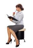 Business lady with black folder Stock Photo