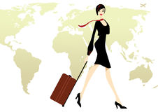 Business Lady in black with a luggage travel. By air around the world with world map as background Stock Photo