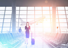 Business lady in black travelling abroad Stock Images